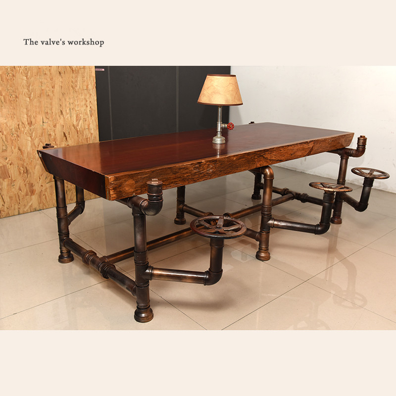 American Industrial Pipe Office Furniture Golden Years Series Creative Pipeline Solid Wood Table Boss Table Office Desk -J001(China (Mainland))