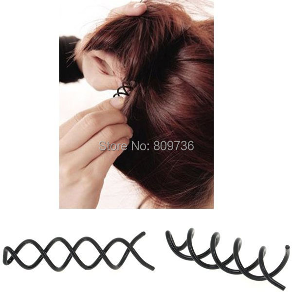 Bulk Hot 10pcs Black Spiral Spin Screw Hair Pins Clips Twist Barrette WEDDING Accessory for Wedding Wholesale Free Shipping(China (Mainland))