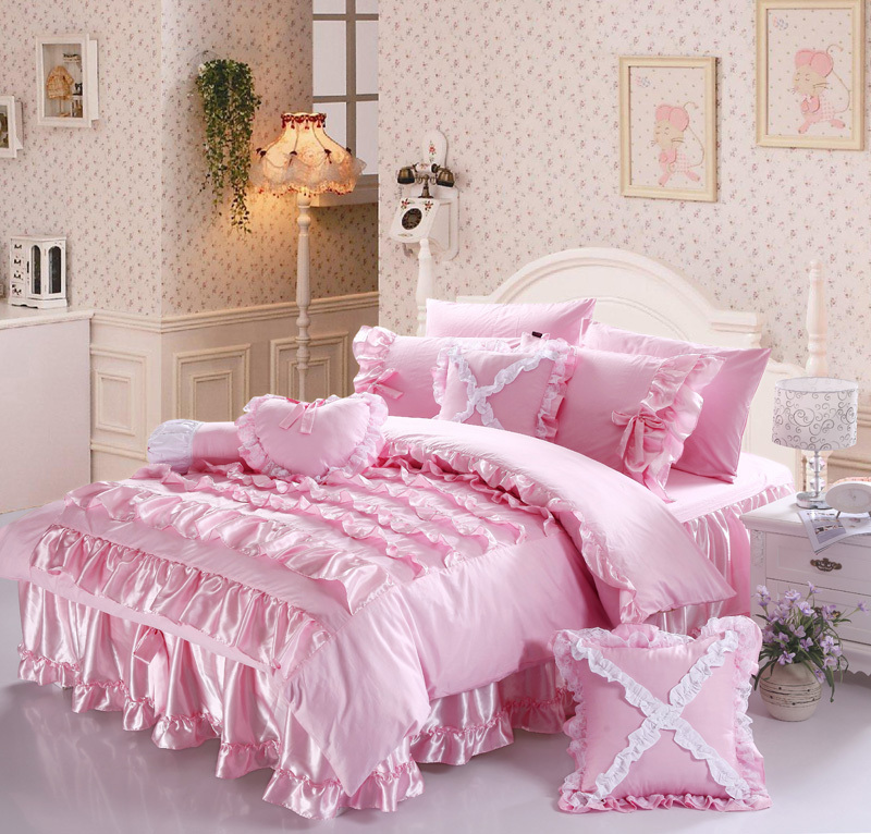 Free shipping luxury romantic beautiful princess comforter sets ruffle lace bow bedding sets - Twin size princess bed set ...