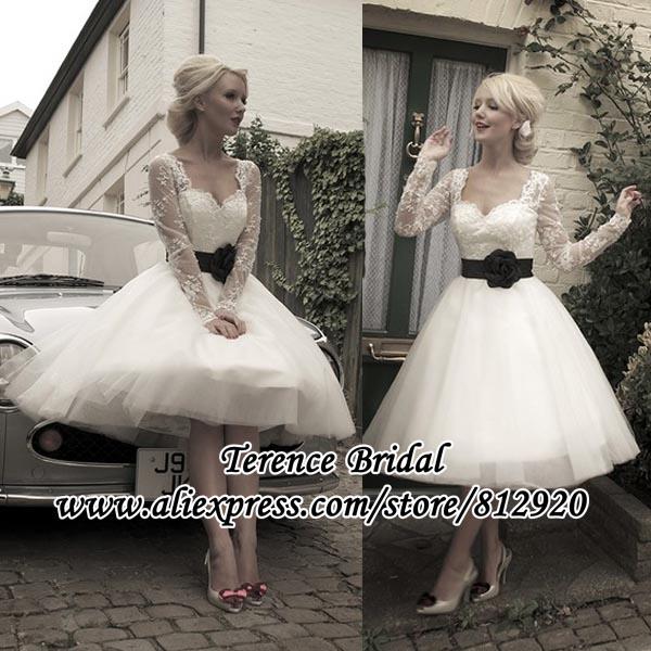 Long Sleeve 50s Wedding Dress : Black flower sash long lace sleeve tea length wedding dress ball gown