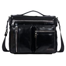 New Arrival 2016 trendy men Boston bag fashion casual trunk shape solid pockets tote shoulder bag men leather messenger bag