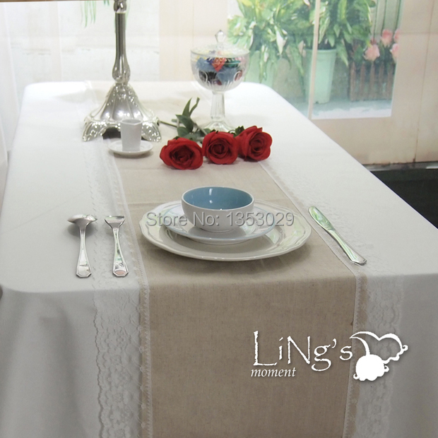 FREE SHIPPING 4pcs/lot W36cm x 275cm L Fashion Rustic Wedding Table Decoration Burlap Linen Table Runner With Lace All Around(China (Mainland))