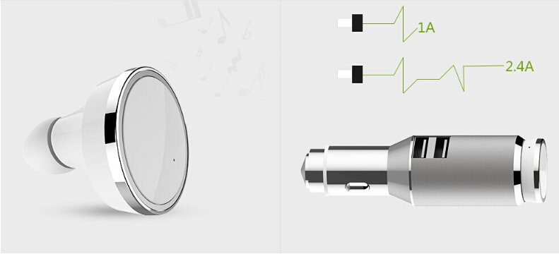 Metal Bluetooth 4.0 Earphone Wireless Headset Electric Dual USB Car Charger Adapter Auto Charging for iPhone 6/6S XiaoMI(China (Mainland))