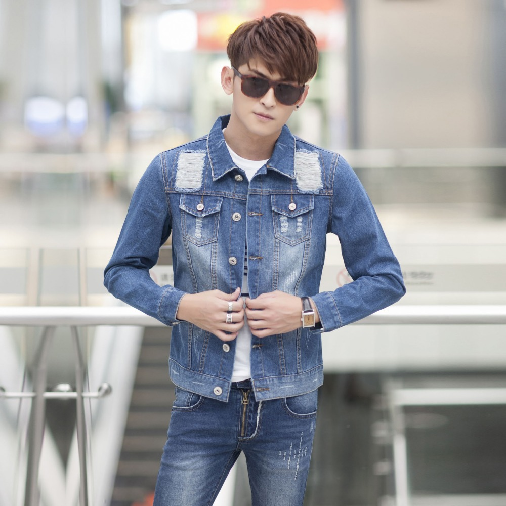 2015 New Hole jeans jacket for men Fashion motorcycle jeans short jacket do old jeans denim coat plus-size(China (Mainland))