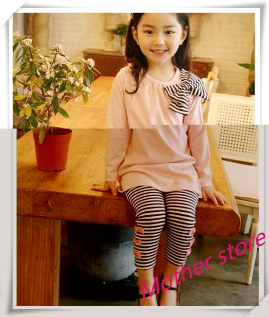 Wholesale 20Sets/lot  Baby  Girl Cute  2pcs Set Children  Bowknot T-Shirt  Top +Pants Leggings Trousers Outfit Clothing<br><br>Aliexpress