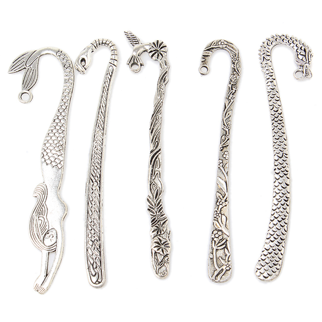 NEW PromotionFive Mixed Shape Gift Bookmark 15pcs/lot Metal Alloy Silver Plated Bookmarks For Beading Handmade 81*16*2mm 160309(China (Mainland))