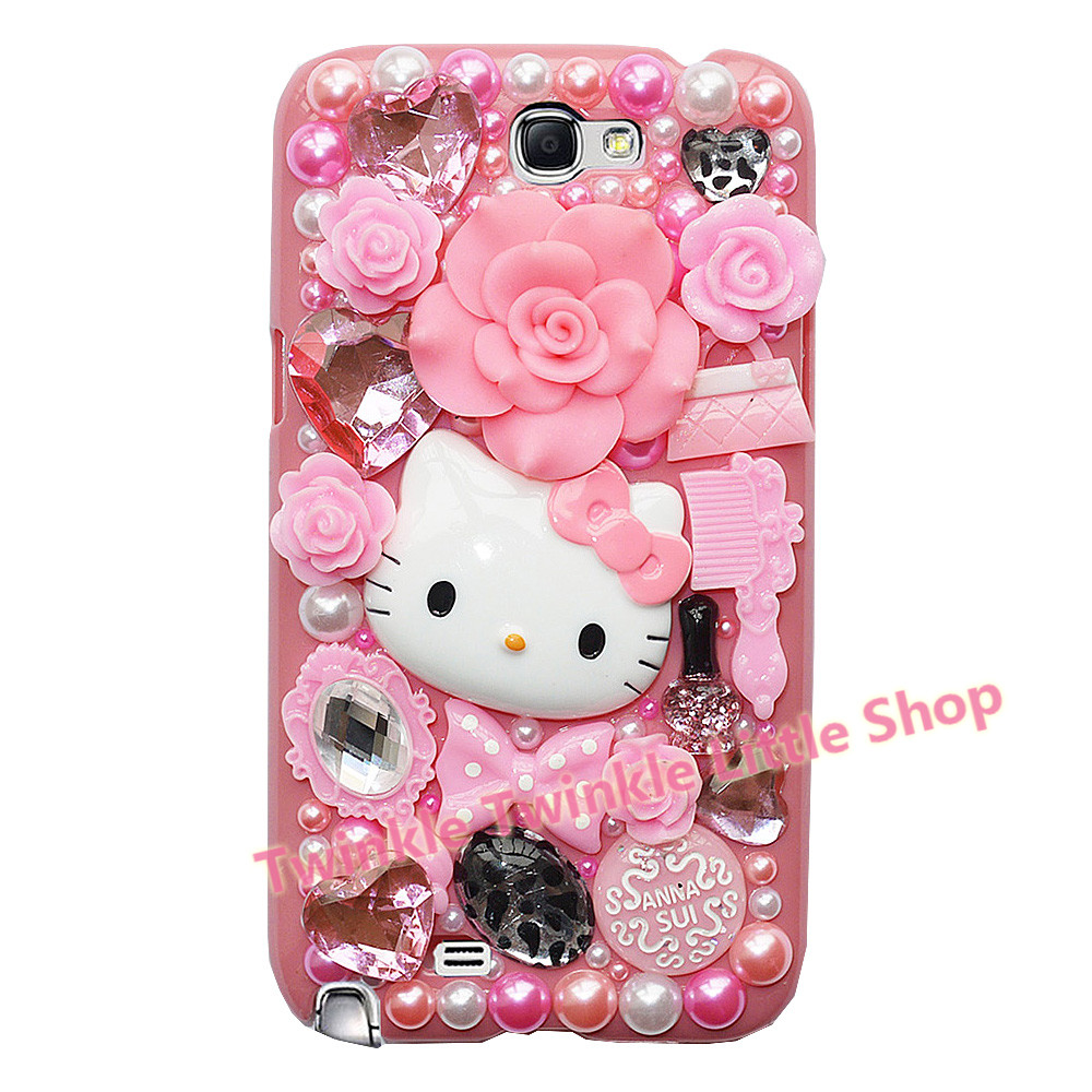 Cute Fashion Hello Kitty Pearl Crystal Plastic Case For Samsung Galaxy Note 2 Case Hard Cover Phone Cases Accessories Protector(China (Mainland))