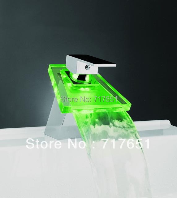 LED Glass Light Temperature Sensor Waterfall Sink Faucet Bathroom Kitchen