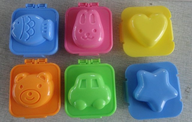 Free shipping Wholesale 18pcs/lot Plastic Egg mould Sushi Rice Mold in cute car fish heart star bear rabbit designs