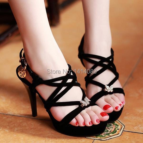 2015 summer open toe sandals, fashion butterfly shape diamond belt buckle platform black 11cm thin high heel women shoes<br><br>Aliexpress