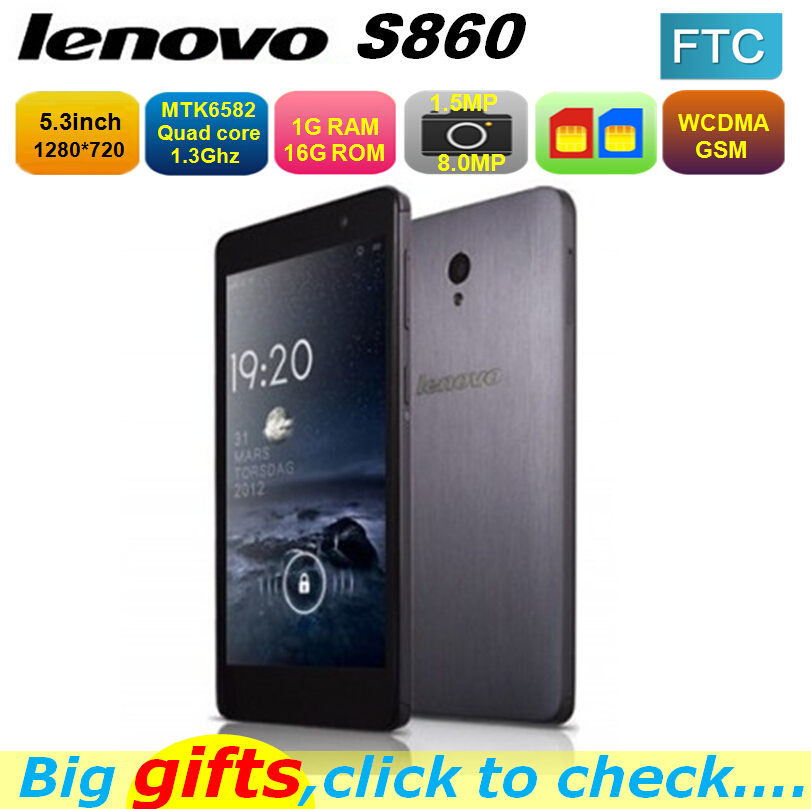 Original Lenovo S860 mobile phone Quad Core MTK6582 1.3GHz 5.3inch IPS 1280x720 Android 4.2 1GB 16GB 4000mAh Battery(China (Mainland))