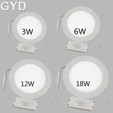 10pcs/lot 3w 6w 12w 18w Square led panel light ceiling downlight Warm White cold white AC85-265V for kitchen bathroom lighting(China (Mainland))