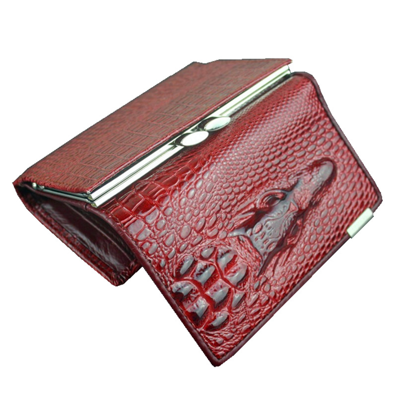 Free shipping real leather women mini wallets , Crocodile 3D mini purse wholesale 2014 new fashion woman card holder wallets(China (Mainland))