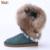 Nuevos muchachas del ribete de La Moda real de piel de zorro de cuero genuino de nieve cargadores para las mujeres zapatos de los planos de invierno botas de las borlas macrame de alta calidad