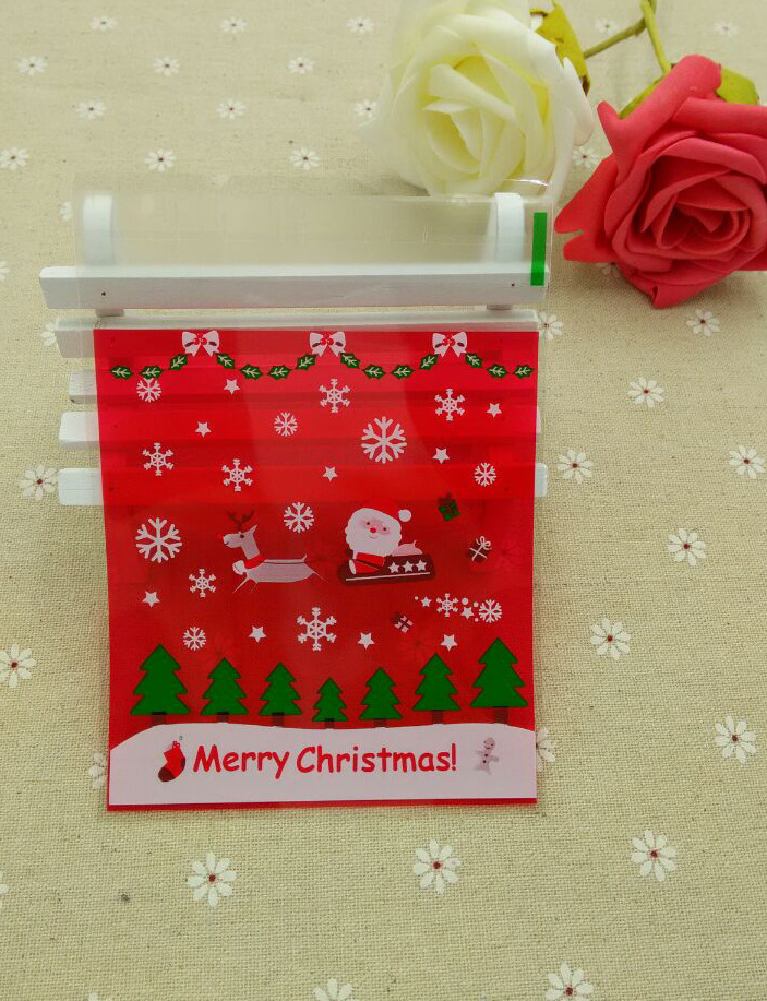 ST Size 10x11+3cm Red Santa Claus Christmas Cellophane Cookie Bag ...