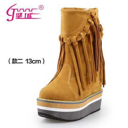 Фотография Spring And Autumn British Style Wedge Boots Female Shoes High-Heeled Tassel Boots Platform Ankle Boots Short Boots H5889