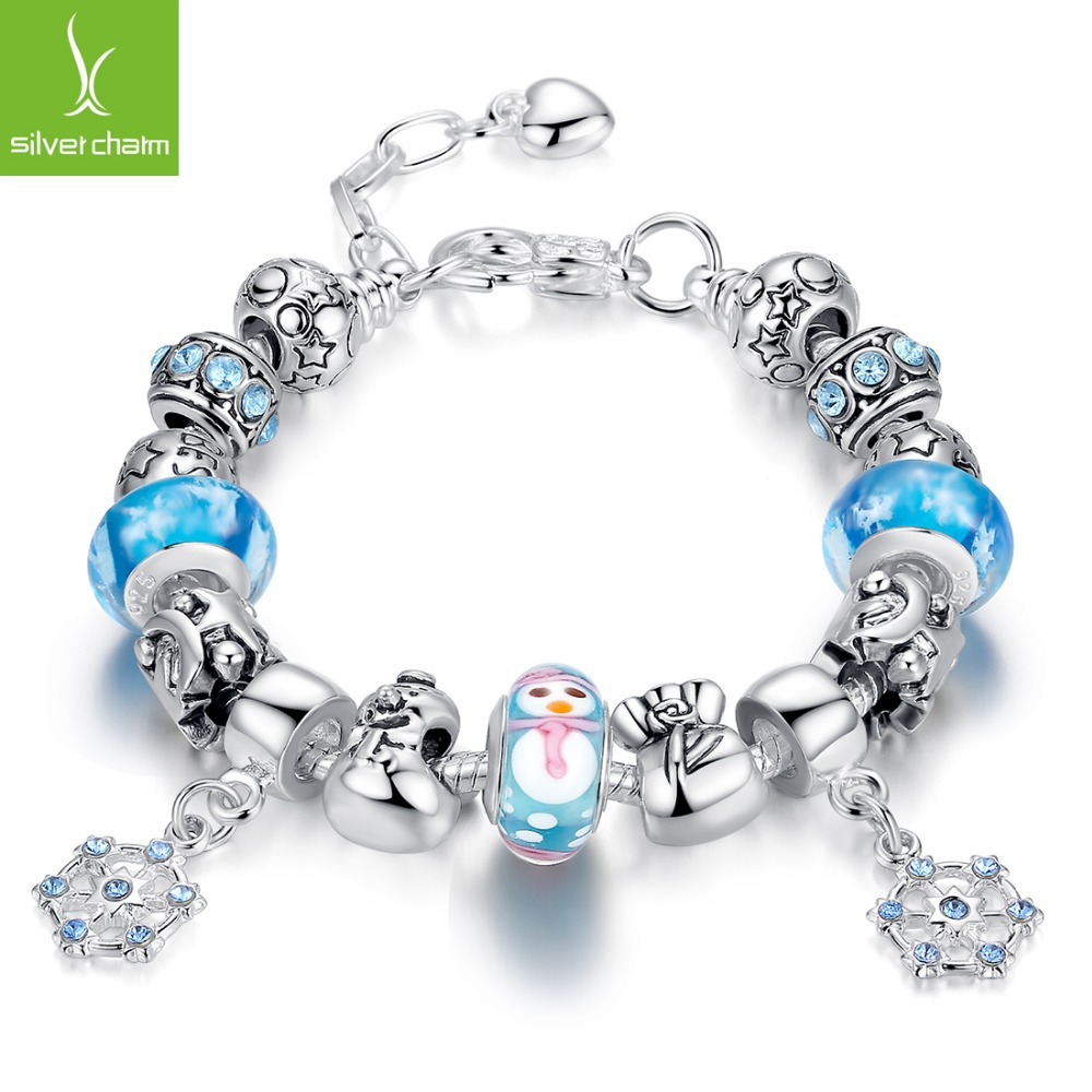 Bamoer New Plated Silver Bracelet With Christmas Decoration Charms and Murano Glass Bead For Christmas Gift XCH1807(China (Mainland))