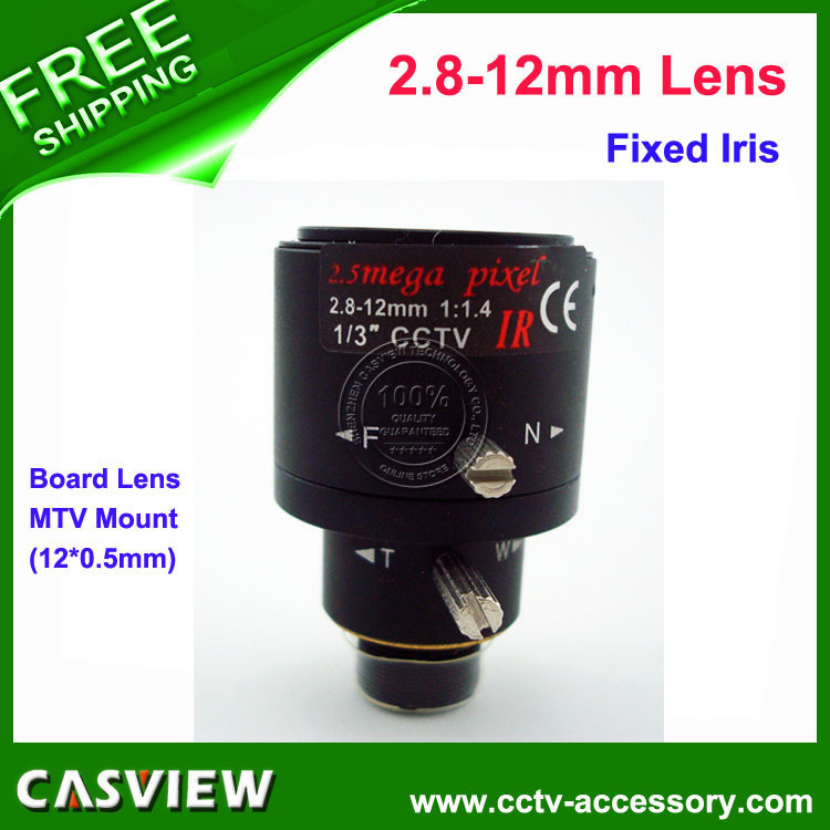 1PCS 2.8-12mm IR Board Lens F1.2 12*0.5mm MTV Mount Fixed IRIS for CCTV Surveillance camera Free shipping(China (Mainland))