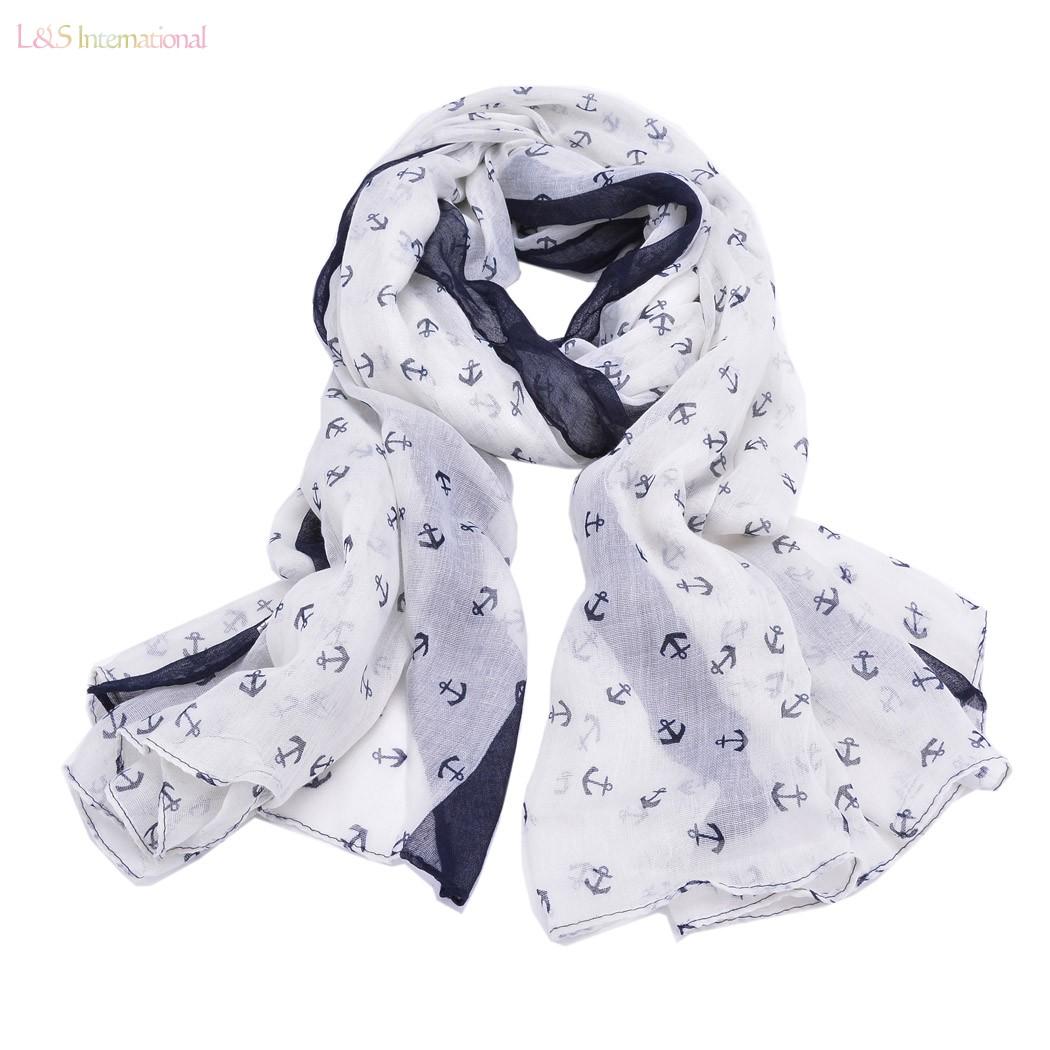 2014 beautiful Scarves women winter Mini Anchor Hook Print fashion Wrap Shawl White/Yellow/Dark blue/WatermelonRed 22(China (Mainland))