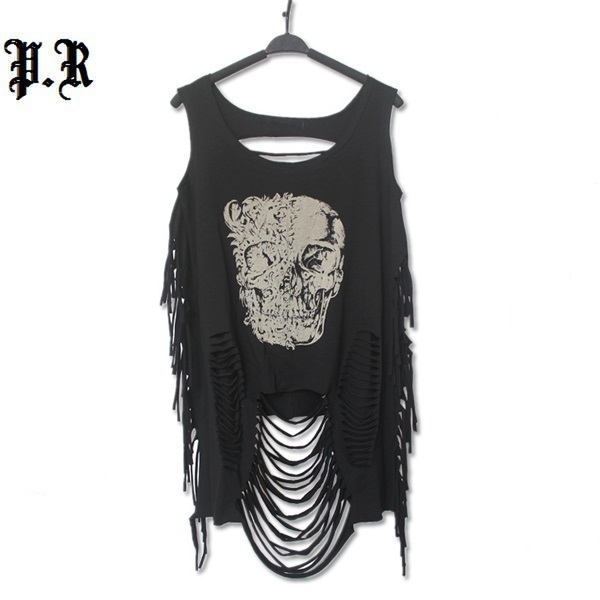 Crop Верх Cropped Sexy Tank Модный Повседневный Punk Rock Pok Streetwear Hollow Out ...