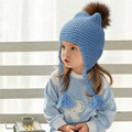 Soft Winter Baby Girls Braid Hats With Mink Fox Fur Ball Toddler Kids Boys Knit Hat