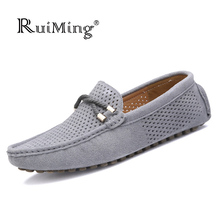Fashion Summer Style Breathable Men shoes Nubuck Leather Men Flats Shoes Slip On Super Soft Loafers Comfortable Casual Shoes