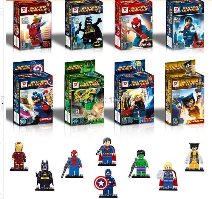 wholesale for 10sets Mini Super Hero figures, The Avengers Figures Toys, batman, x-man, hulk, iron man, super man toys for boys<br><br>Aliexpress