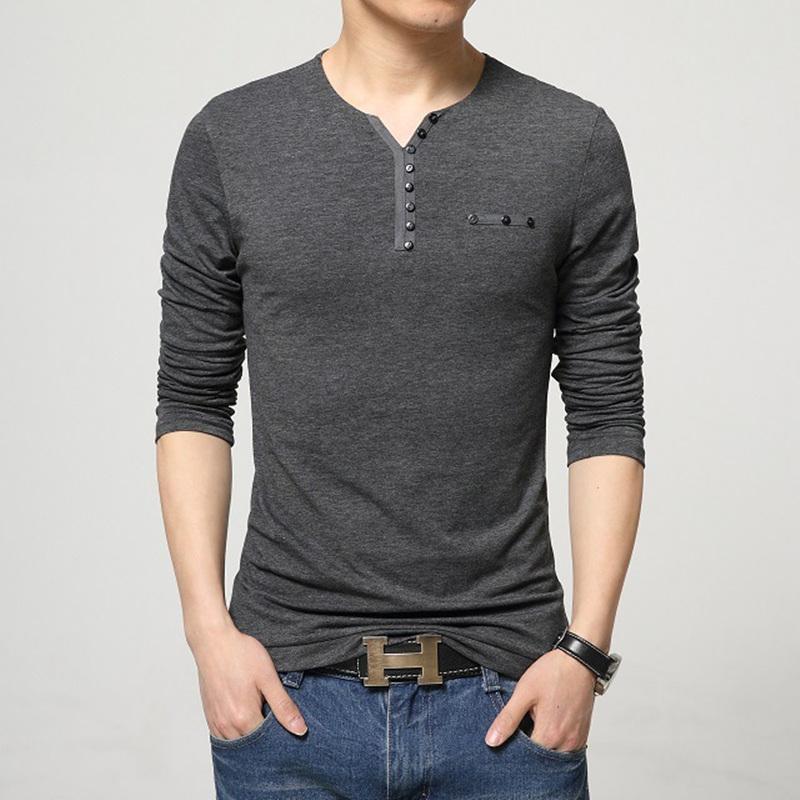 2016 fashion mens slim fit long sleeve t shirts stylish for Mens t shirt online