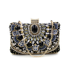 2015 Hot Sale Small Beaded Clutch Purse Elegant Black Evening Bags Wedding Party Clutch Handbag B3012