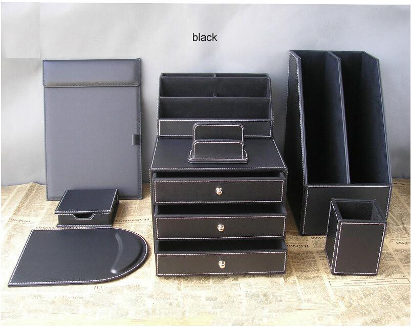 Buy 8pcs office leather desk organizer - Leather desk organizer set ...