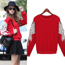 Women Fashion Vintage Angel Wings Sequined Pullover Women Knitted  Spring Autumn Short Design Paillette Casual(China (Mainland))