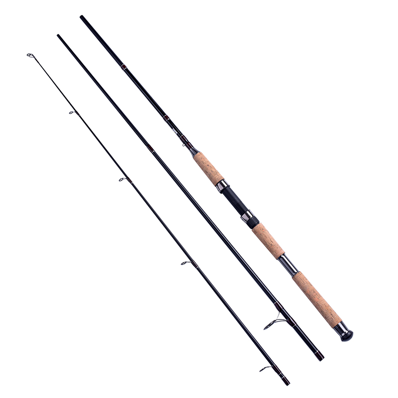 2.4/2.7/3m 3PCE PORTABLE spinning fishing rod MH FAST cork wood handle bass fishing pole spinning carbon fiber lure fishing rod(China (Mainland))