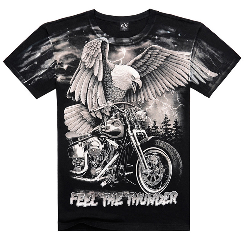 Top Quality 2016 New Brand Men's Cotton Short Sleeve T-shirt Fashion Casual O-neck Feel The Thunder 3D Printed T Shirt AXTX063(China (Mainland))