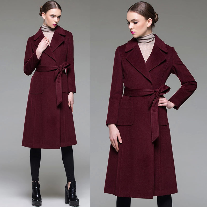 Spring Fall Fashion Elegant Womens Slim Long Sleeve Wine Red Woolen Coat , Ladies Female Designer Belt Wool Coats Woman  -  Jeanie Deng's store store