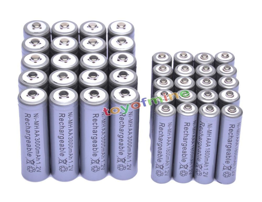 20 AA +20 AAA 1.2V 1800mAh 3000mAh NiMH Grey Rechargeable Battery Cell(China (Mainland))