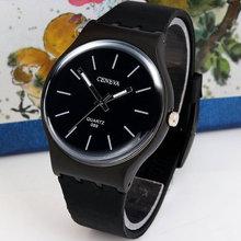 Stylish Men Fashion Silicone Thin Dial Band New 2015 Black Simple Design Quartz Wrist Watch(China (Mainland))