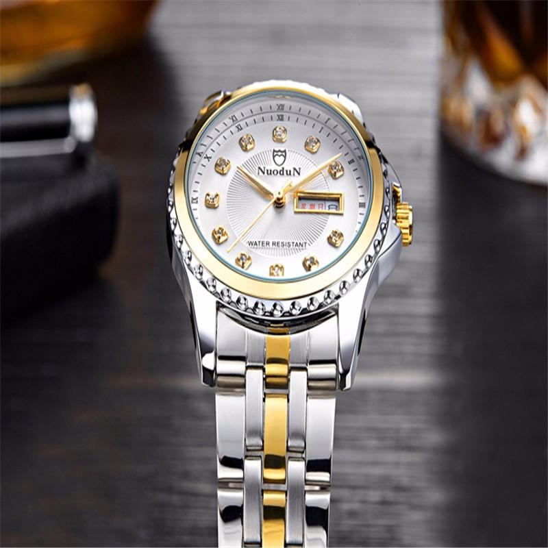 NuoDun Высококачественные Фирменные Женские Часы Повелительницы Наручные Часы Для Женщин Из Нержавеющей Стали, Водонепроницаемые Кварцевые Часы