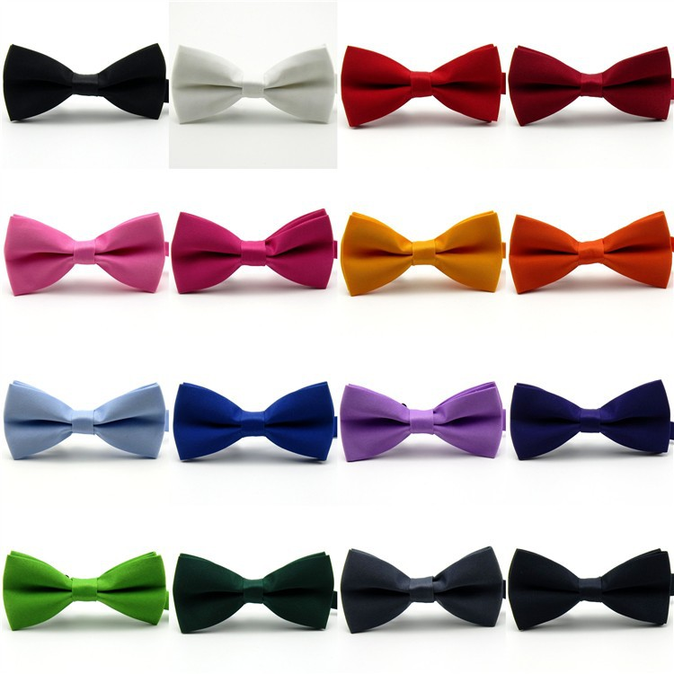 Korean Style Men Women Wedding Groomsmen group Bow tie Black White Red Blue Purple Butterfly Tie