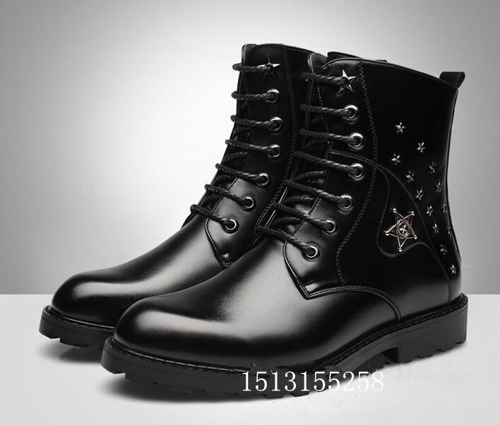 winter boots brand lace men handsome rivet Martin Mens trend move fashionable man army