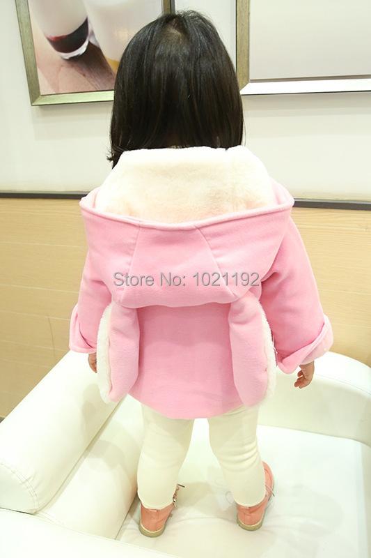 Скидки на Новые зима 201515 детей шерстяная ткань пальто хан издание из девушек заячьи уши детская одежда два цвета : розовый желтый