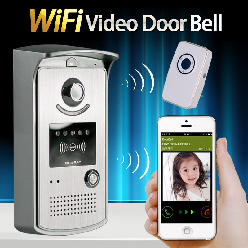 High sensitive Wireless IP Wifi Doorbell Intercom Peephole Video Door Phone Camera + indoor Door bell Support IOS Android(China (Mainland))