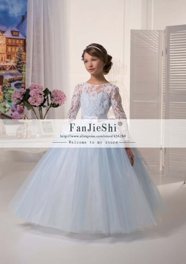 2015 Custom Made Lovely Girl Pageant Dresses Long Sleeve Scoop Neckline Bow Floor-Length Ball Gown Lace Flower - Suzhou FanJieShi Wedding Dress Co., Ltd. store