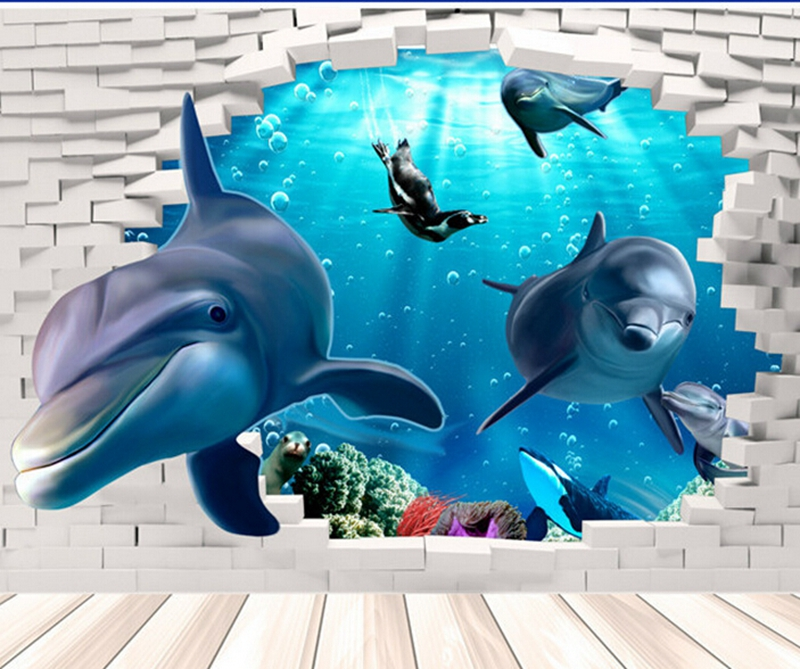 Hot Sale Style 3d Dolphins Stickers Underwater World for Sitting Room Background Wall Posters 3 d Wall Stickers Dolphins(China (Mainland))