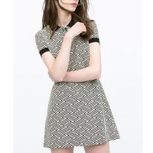 QZ2021 New Fashion Ladies' Elegant Geometric print Dress vintage turn down collar button short sleeve casual slim brand dress(China (Mainland))