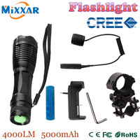 zk50 CREE XM L T6 led tactical flashlight 3000Lm zoomable torch for Hunting 1 18650 battery