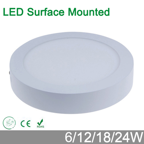 High brightness 6W 12W 18W 24W round surface mounted LED panel wall ceiling down light iluminacion lamp for home luminaire(China (Mainland))
