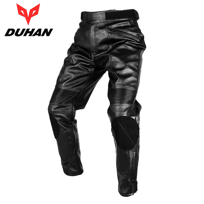 DUHAN Motorcycle Waterproof Windproof Men's PU Imitation Leather Racing Sports Pants Motorcross Riding Protective Trousers - Top-touch Technology Co.,Ltd store