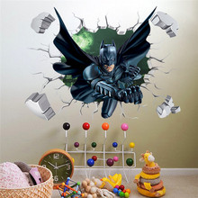 Buy 3D Througn Wall Batman Wall Sticker For Kids Nursery Children Room Cartoon Home Decor Wall Art PVC Break Wall Decal Boy's Gift for $1.50 in AliExpress store