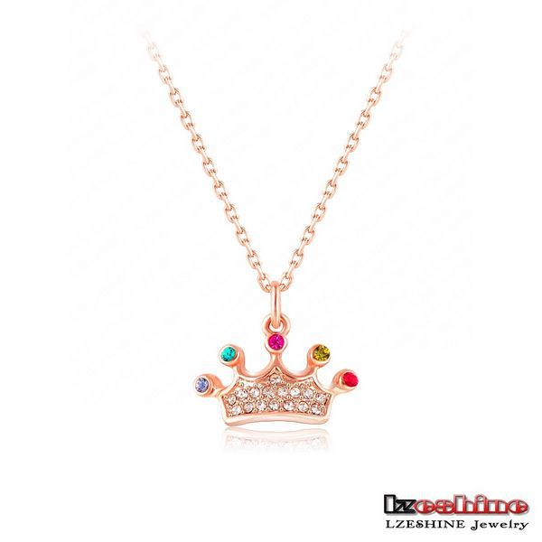 Magic Princess House Fashion Long Red Crystal Sweater Necklace LZESHINE Brand Princess