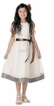 A-line Scoop Tea- Length Flower Girl Dresses 2009 Style SKU510117